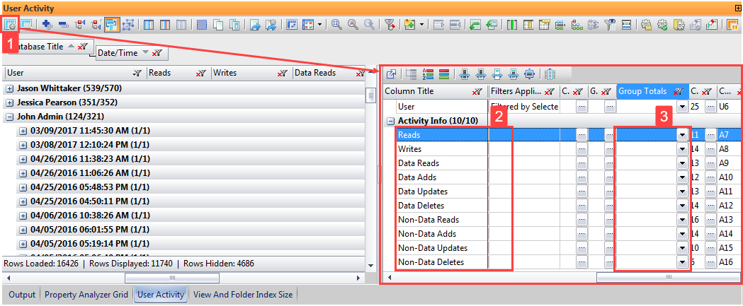 Image of User Activity panel and grid manager in databaseEZ, organizing data by database and activity.