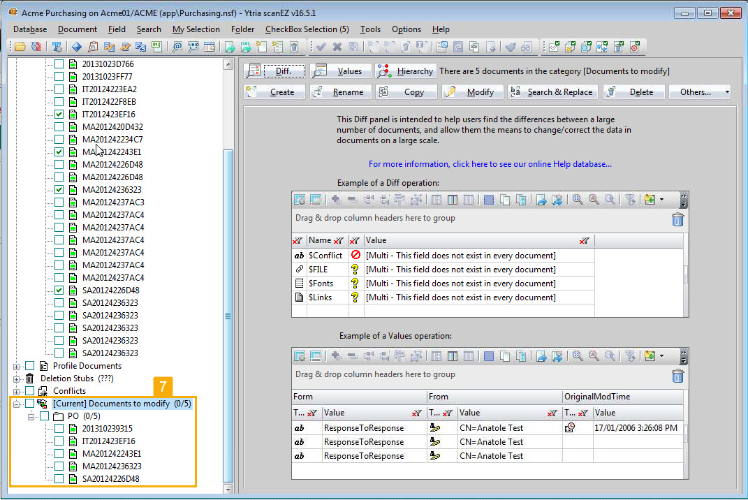 An image of scanEZ interface showing the selected documents placed in a My Selection folder.