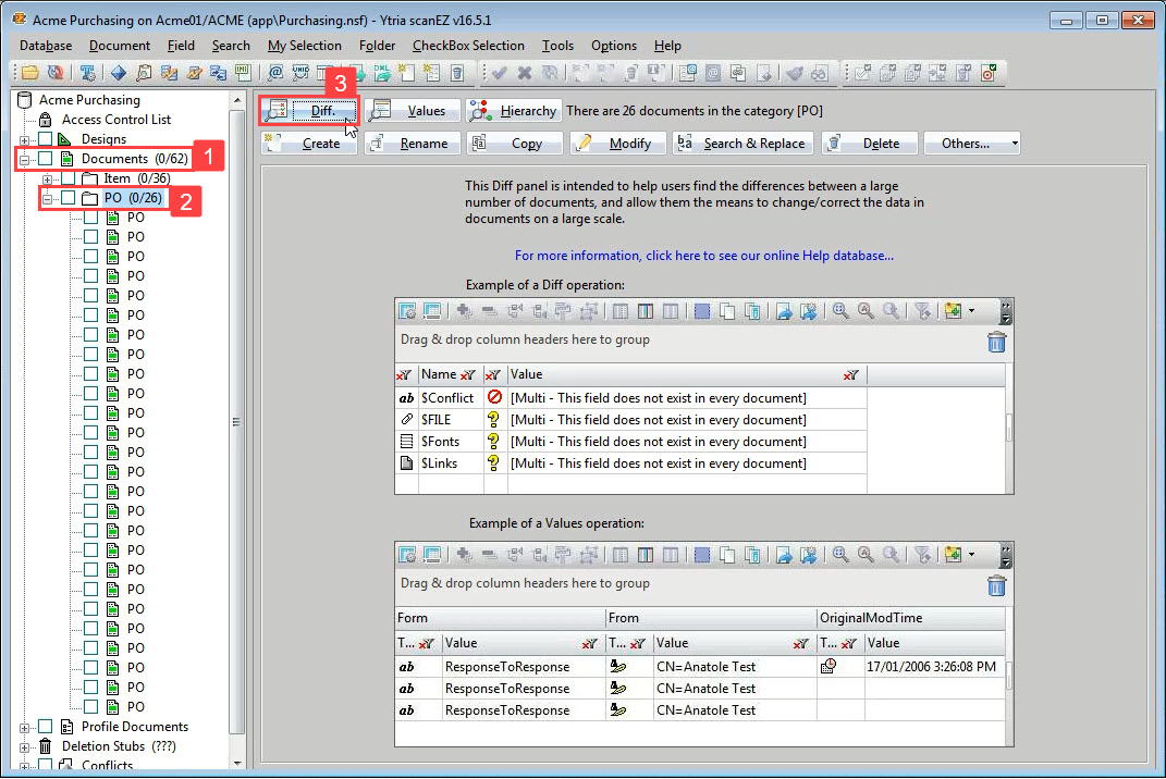 An image of scanEZ interface with the 'Documents' folder selected and the Diff button highlighted.