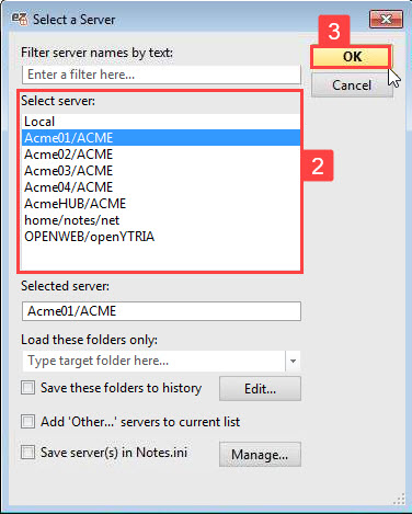 An image showing the aclEZ select server dialog with one server selected to load.