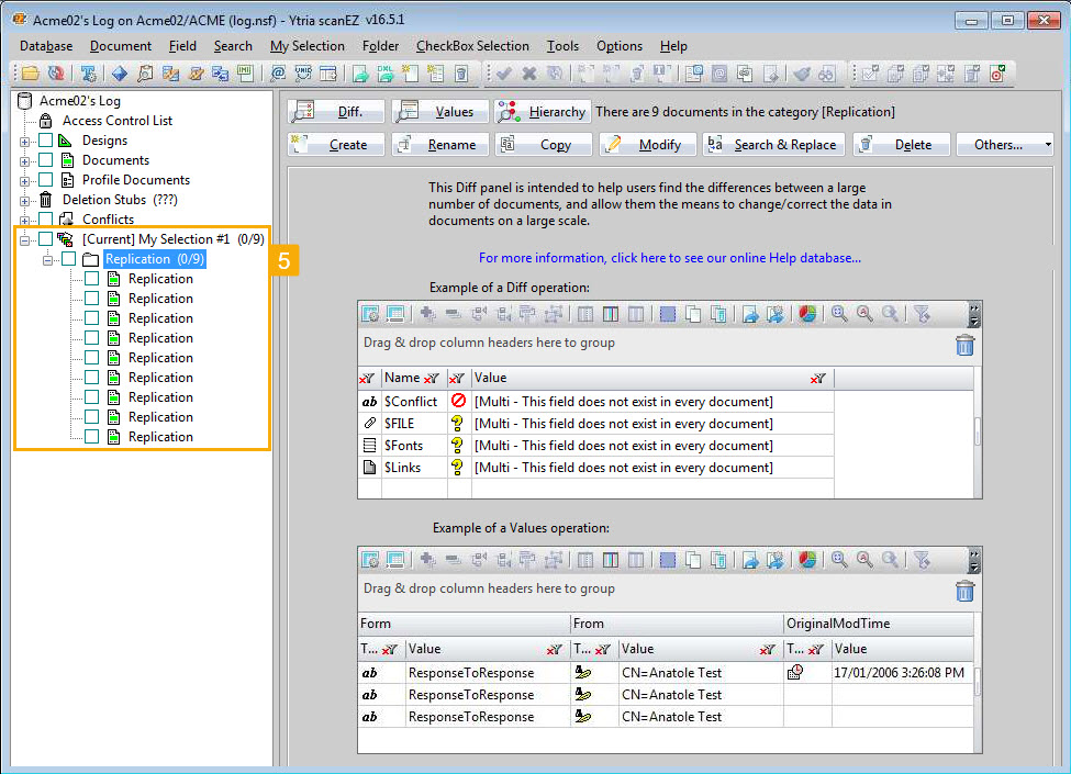 A scanEZ screen showing the selected documents loaded into a virtual My Selection folder.