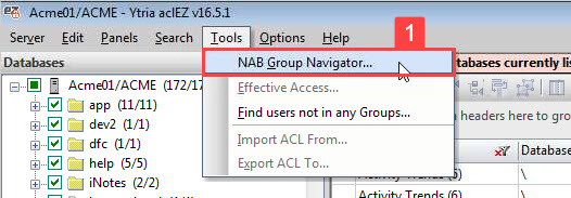 Image of aclEZ's main screen with the NAB Group Navigator option selected.
