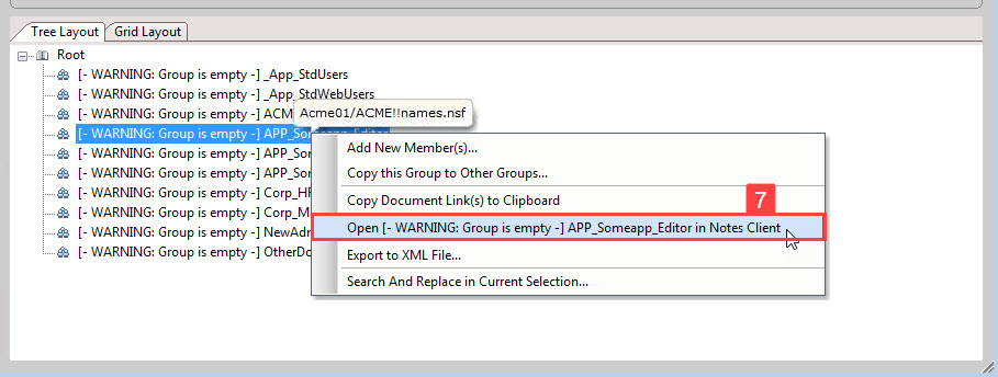 Image of aclEZ's NAB Group Navigator showing the option to open group in Notes client.